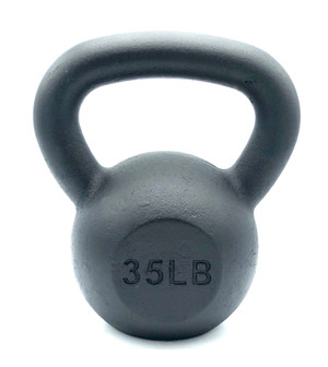 Black Powder-Coated Cast Iron Kettlebell - 35  LB