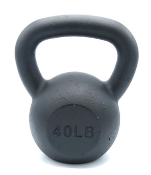 Black Powder-Coated Cast Iron Kettlebell - 40  LB