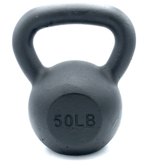 Black Powder-Coated Cast Iron Kettlebell - 50  LB