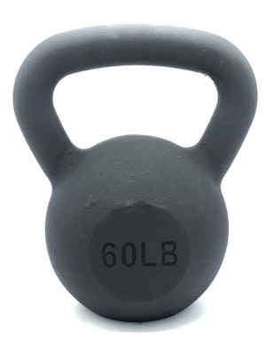 Black Powder-Coated Cast Iron Kettlebell - 60  LB
