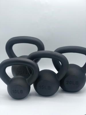 Black Powder-Coated Cast Iron Kettlebell SET 10-15-20-25 LB
