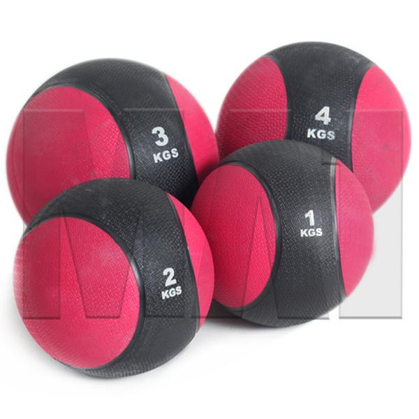 Deluxe Rubber Medicine Ball Sets - 1kg, 2kg, 3kg & 4kg