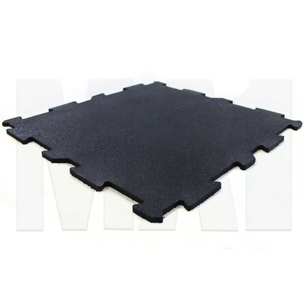 MA1 Premium Interlock Rubber Tile -24in x 24in x 10mm, Black with Blue Speck