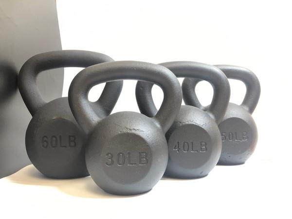Black Powder-Coated Cast Iron Kettlebell SET 30-40-50-60 LB