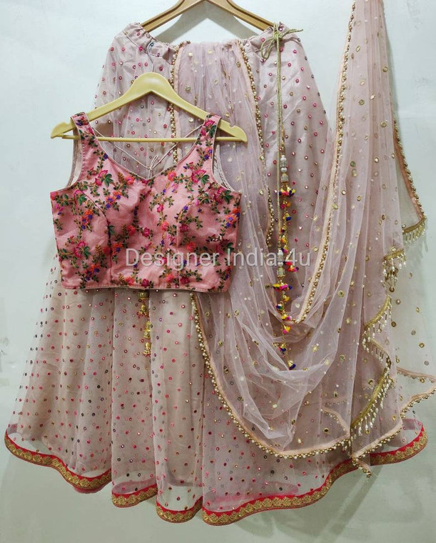 Custom Made Baby Pink Color Lehenga Blouse Dupatta