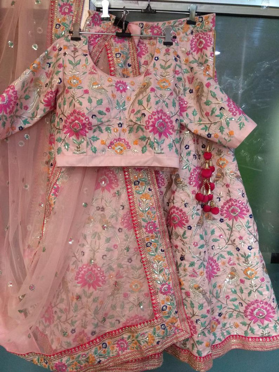 Baby Pink Color Custom Made Indian Designer Lehenga Choli Dupatta