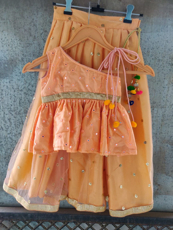 Kids Peach Color Party Wear Custom Stitched Made to Order Dress