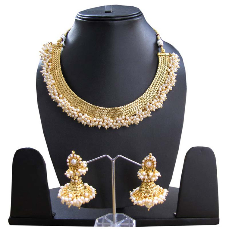 Necklace Set with Pearls Work and Earrings