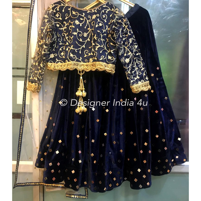 Blue Velvet Lehenga Embroidered Blouse and Dupatta