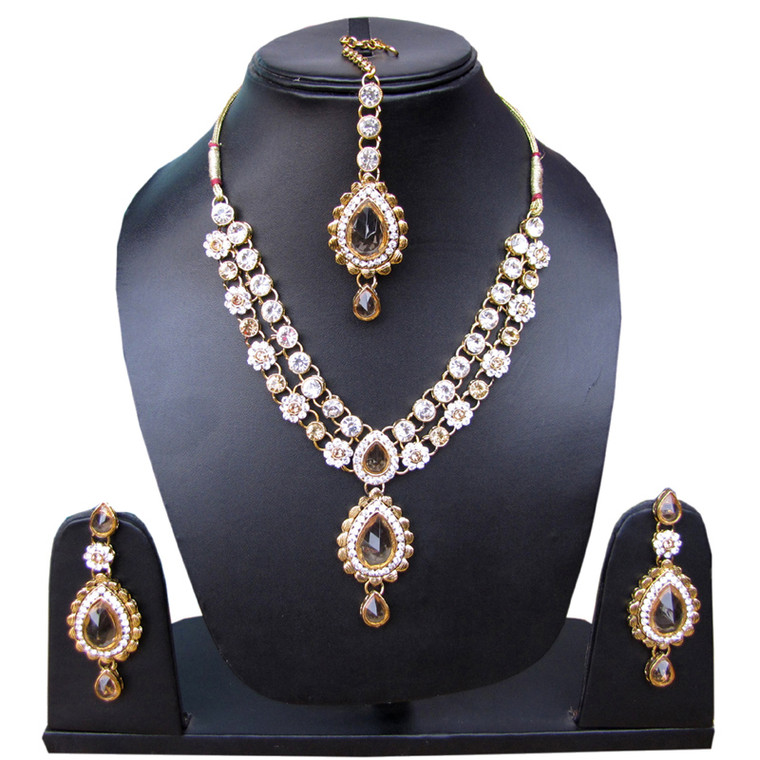 Stone Studded Necklace Set and earrings & Maang Tikka