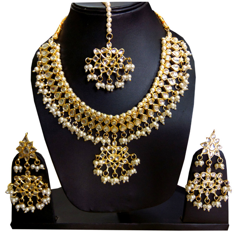 Kundan Polki Choker Necklace Set earrings & Maang Tikka