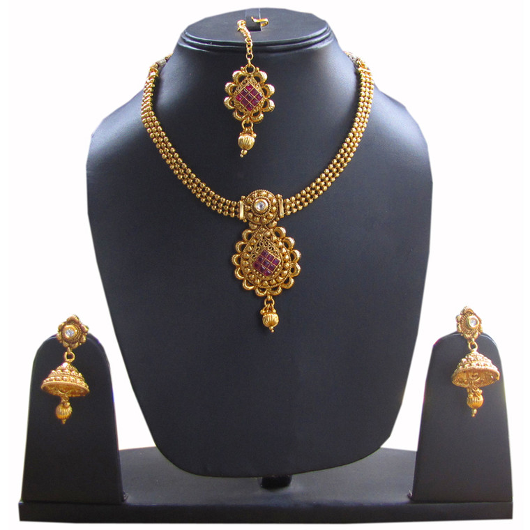 Gold stone studded Necklace Set earrings for women & Girls