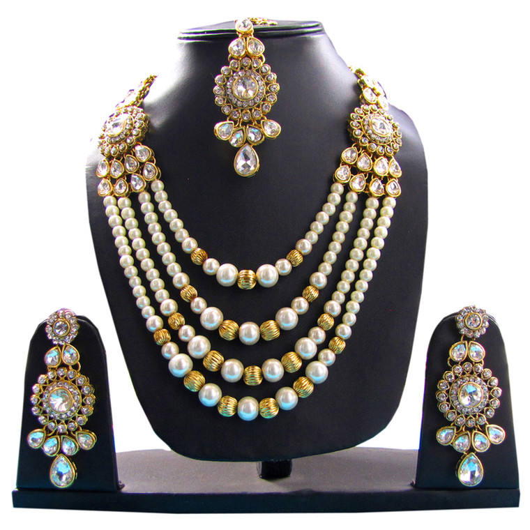 Bridal Polki Stone Studded Diamond Necklace Jewellery Set earrings