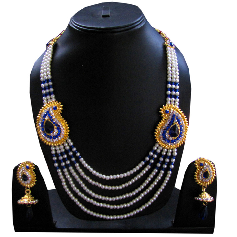 Blue Stone Studded Pearl Necklace Set and earrings