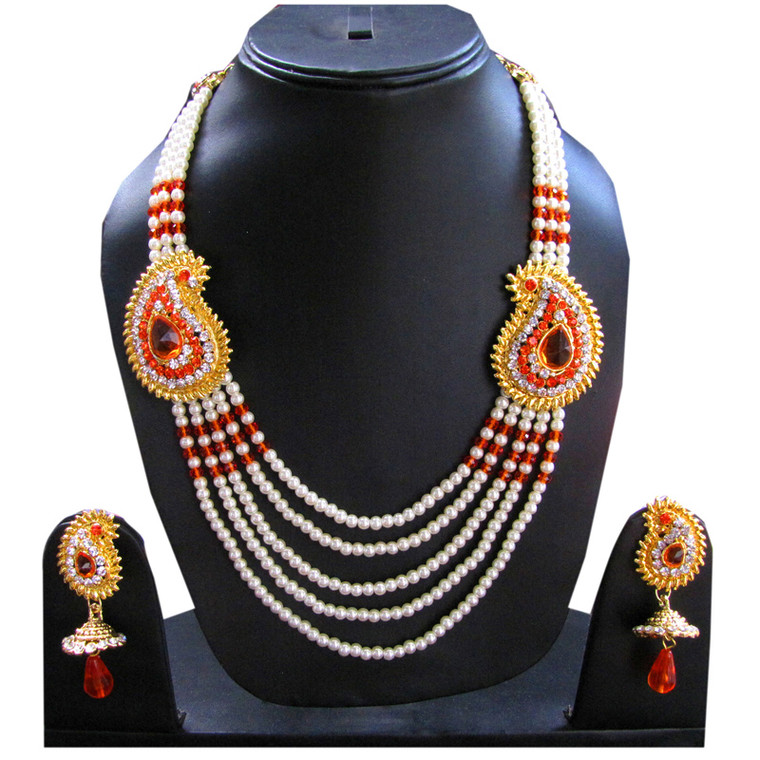 Orange Stone Studded Layered Pearl Necklace Set and earrings