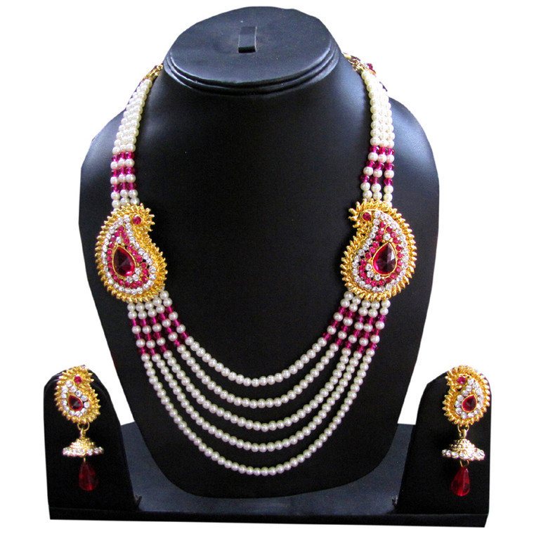 Pink Stone Studded Layered Pearl Necklace Set and earrings