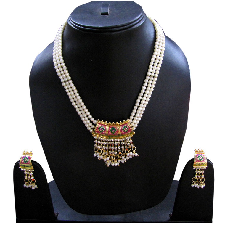 Pearls Round Indian Necklace Set and earrings