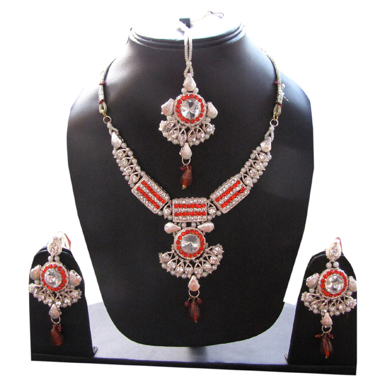Party wear Silver Necklace Set Indian Jewellery