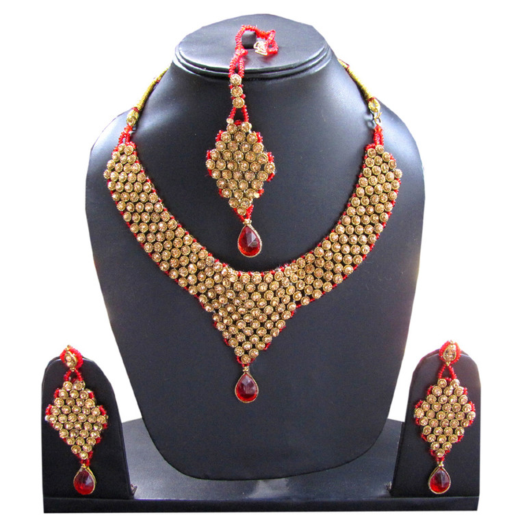 Choker Indian Gold Necklace Set & earrings Jewellery Sets