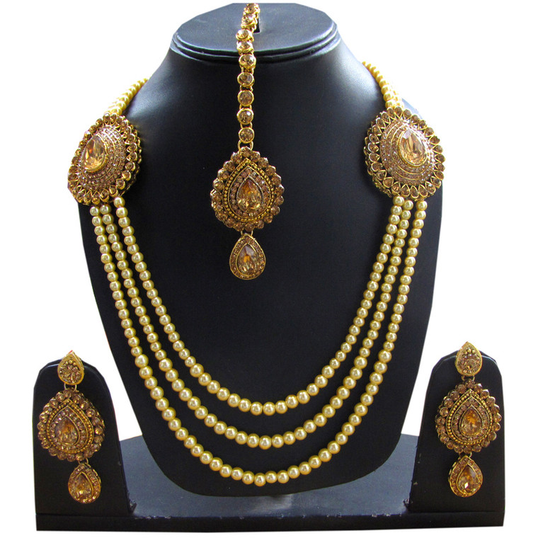 Stone Studded Pearl Layered Necklace Set Earrings & Maang Tikka