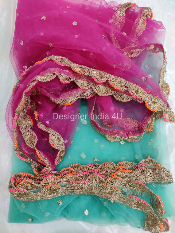 Custom Made Dupatta Dual Color Pink with Green