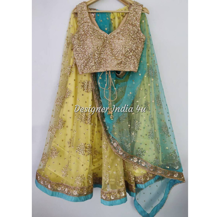 Yellow with Turquoise Green Heavy Embroidered Wedding Mehndi Party Wear Lehenga Choli Dupatta