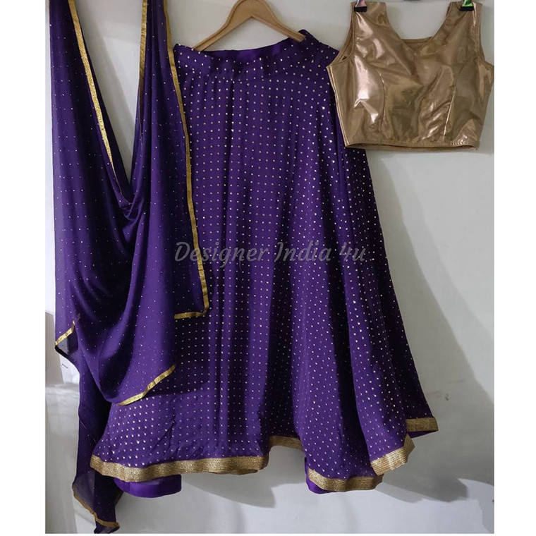 purple Color with golden foil dots all over Georgette Lehenga