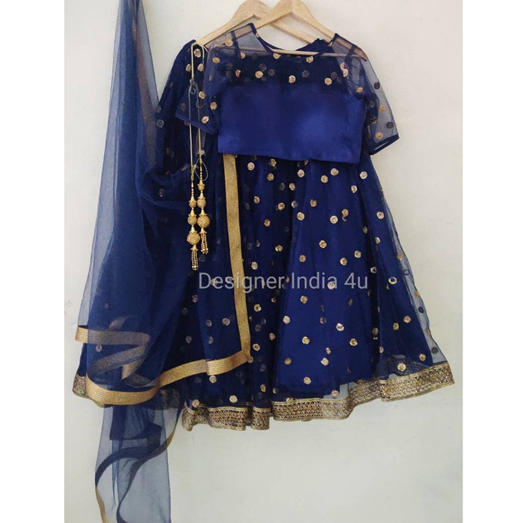 Blue Sequence embroidered wedding wear Net Lehenga Choli Dupatta