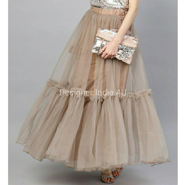 Beige Color Ready made Stitched Layered  Net Skirt Lehenga t