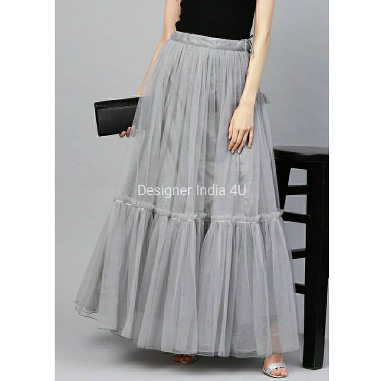 Gray Color Ready made Stitched Layered  Net Skirt Lehenga t