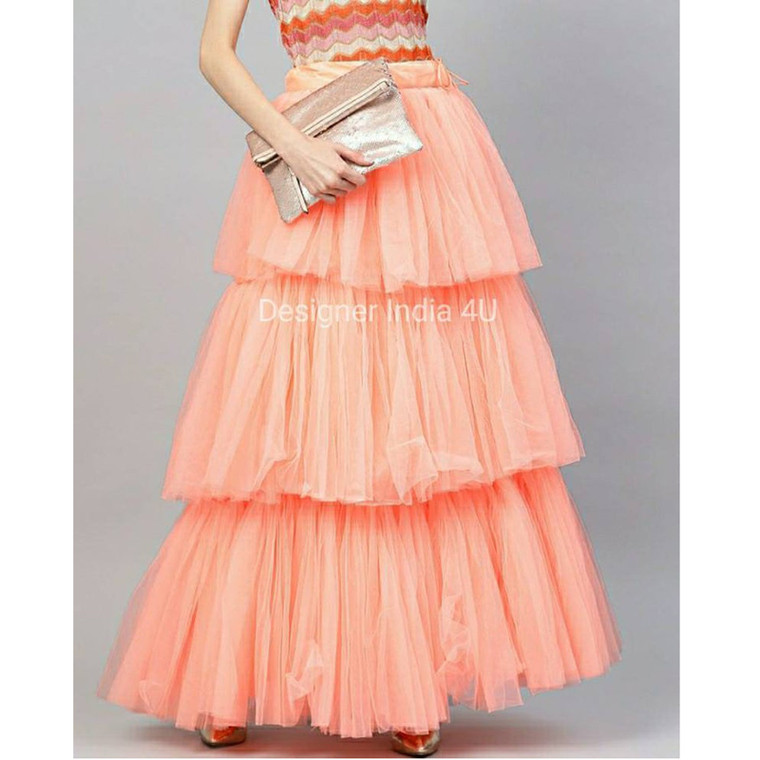 Peach Color Ready made Stitched Layered  Net Skirt Lehenga t