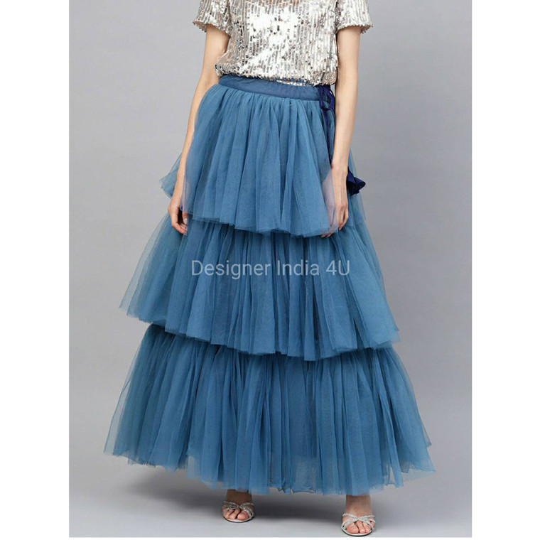 Blue Color Ready made Stitched Layered  Net Skirt Lehenga t