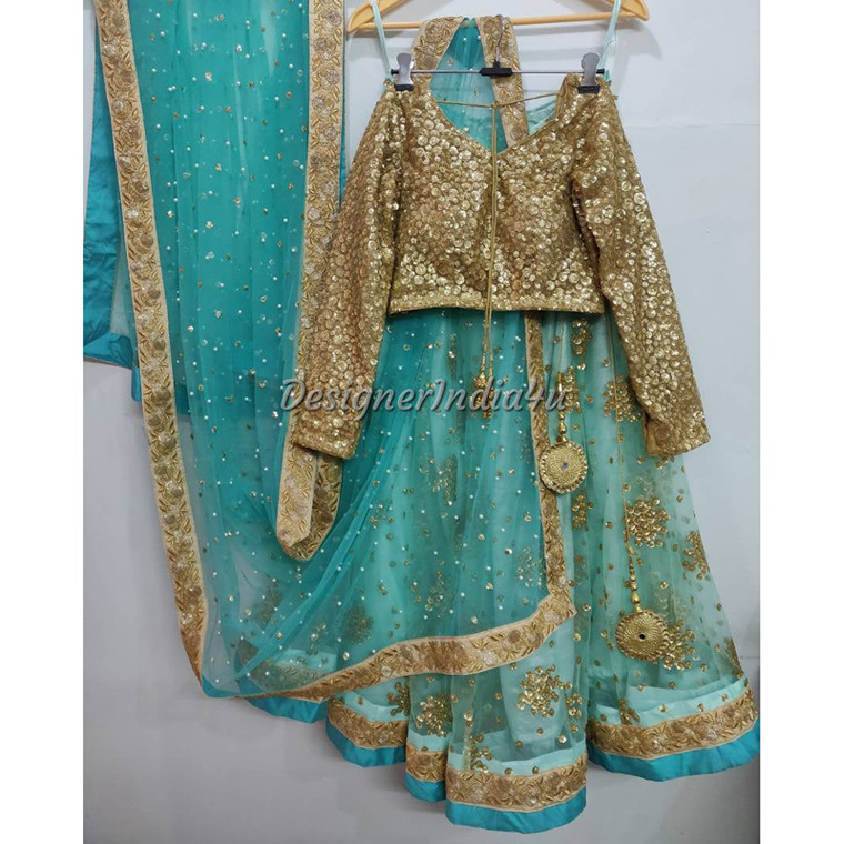 Blue Color  embroidered Sequence wedding wear Net Lehenga Choli Dupatta
