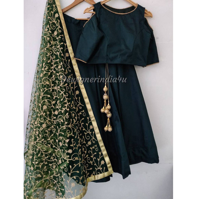 Emerald Green Wedding Tafta Silk Lehenga Choli Dupatta