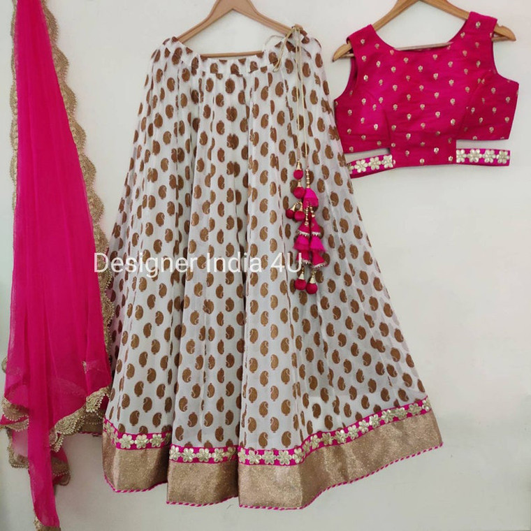 Off-white pink embroidered Party wear Lehenga