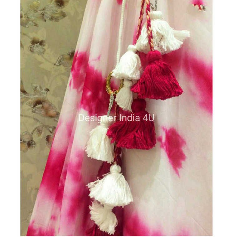 Pink White Ready to wear Georgette Skirts