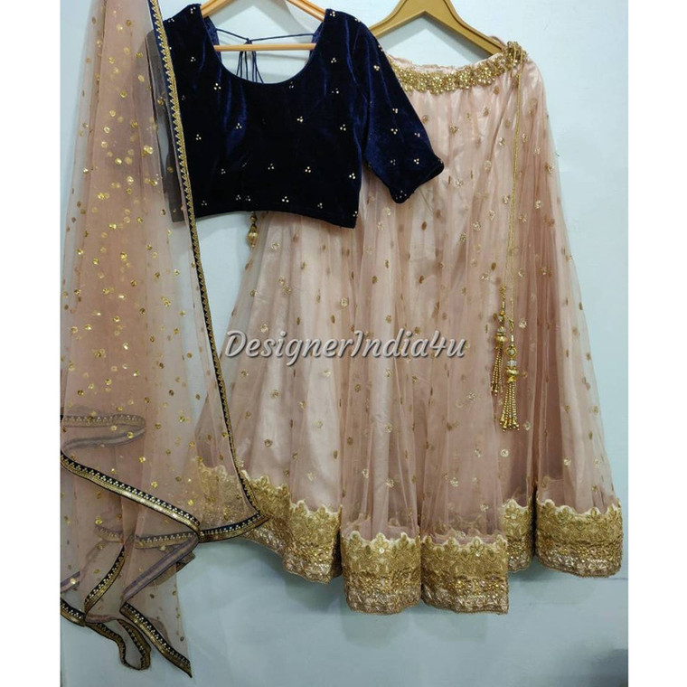 Peach Color embroidered Net wedding Party wear Lehenga