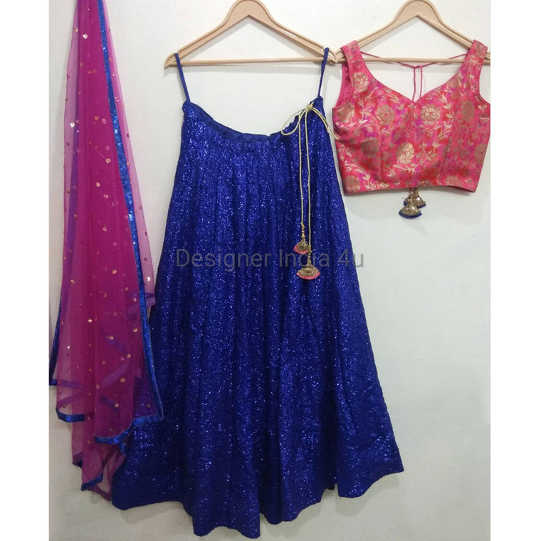 Pink Blue Sequence Lehenga Choli Dupatta