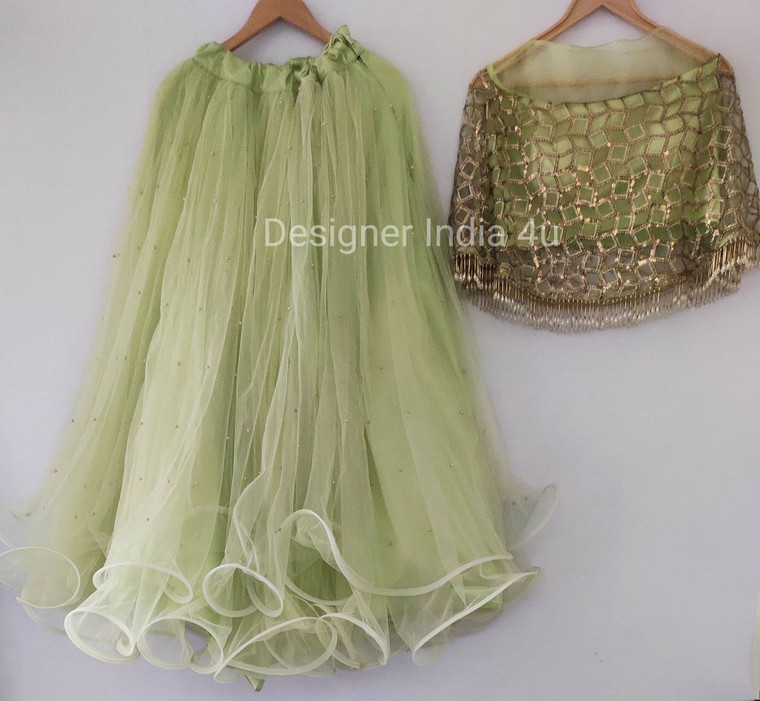 Mint Green Custom Mader pWedding wear Lehenga Choli Duparra