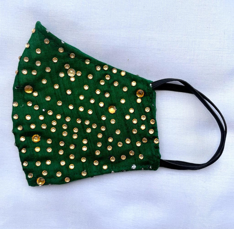 Party Wear Face Mask for Women Green Color