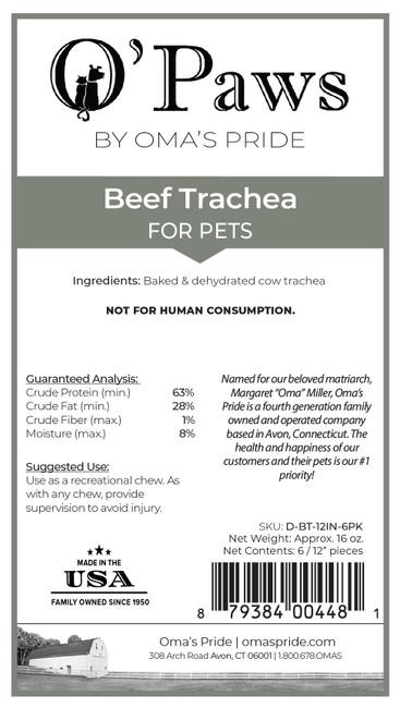 "O'Paws Beef Trachea 12"""
