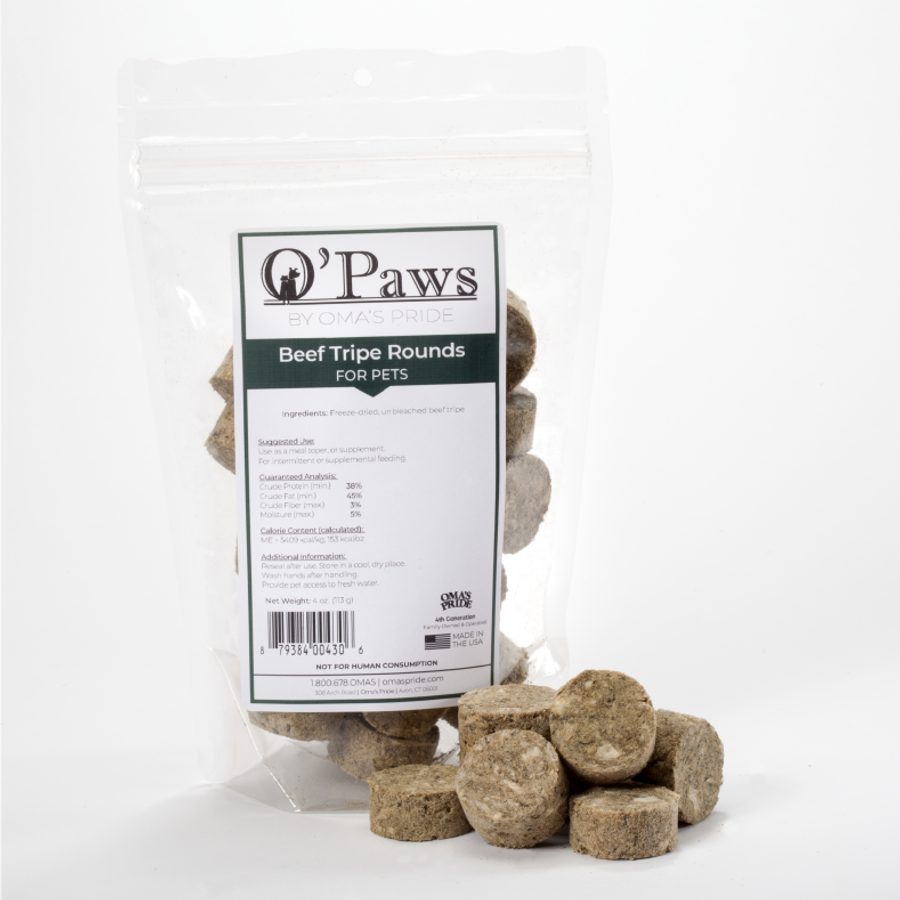 O'Paws Beef Tripe Rounds 4 oz