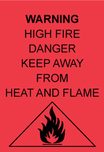 Fire warning label on garment