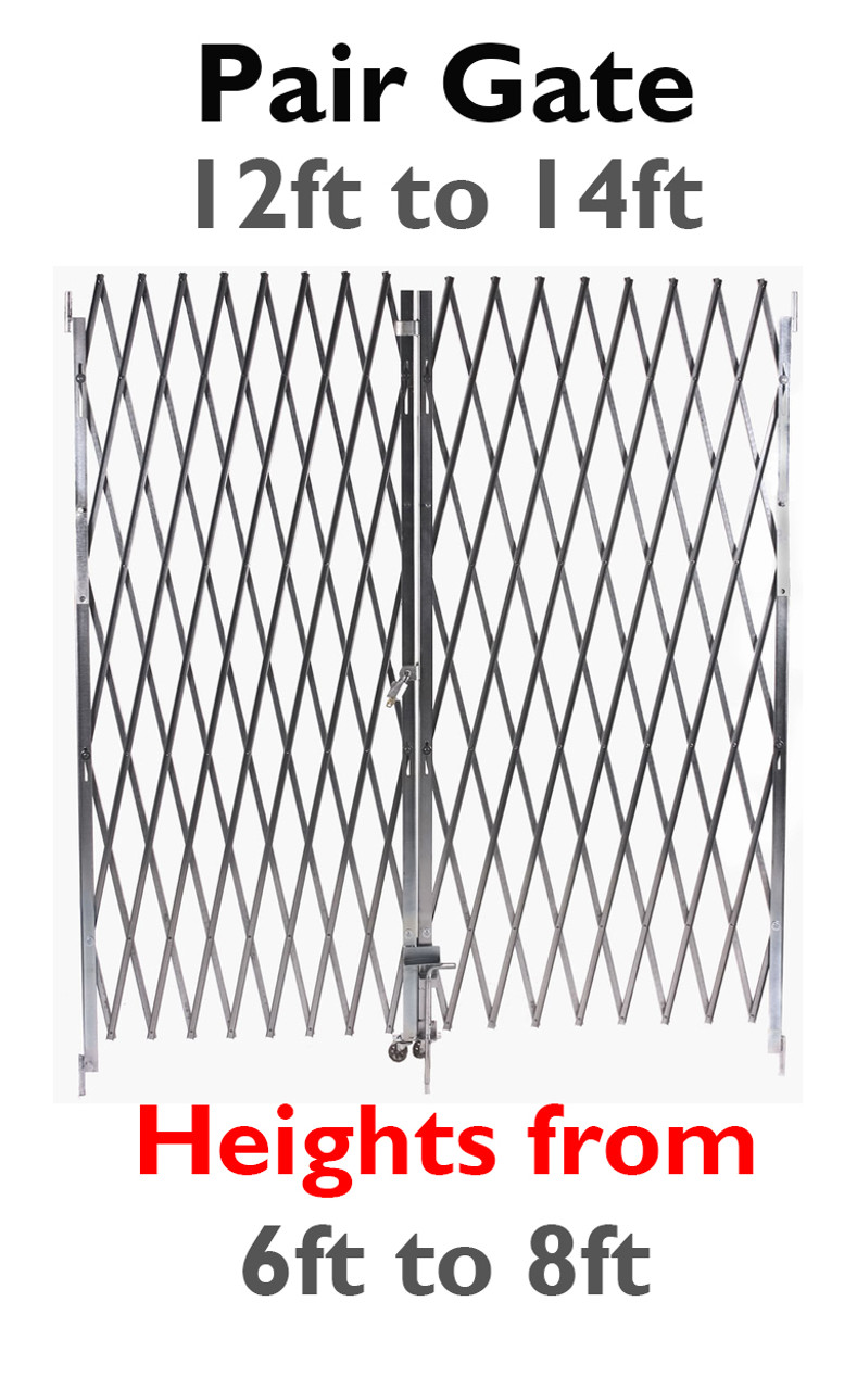 Pair Fixed Accordion Security Gate 12 To 14 Ft Wide
