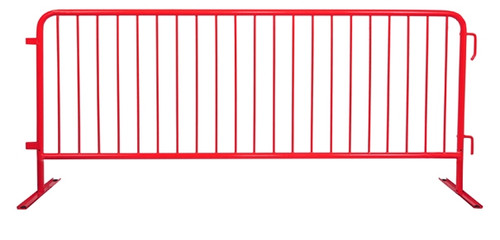8 Ft Steel Barricades with Red Powder Coat / Flat Bases - Crowd Control Barriers