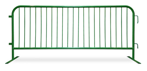 8 Ft Steel Barricades with Green Powder Coat | Flat Bases - Crowd Control Barriers