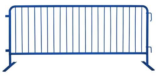 8 Ft Steel Barricades with Blue Powder Coat | Flat Bases - Crowd Control Barriers