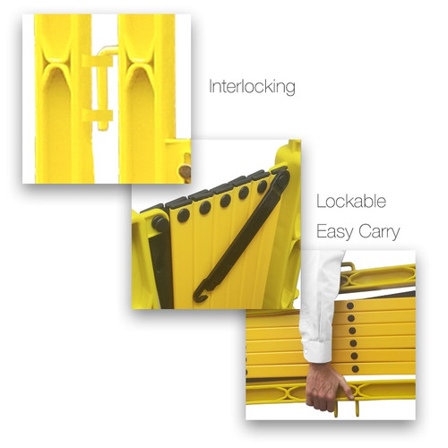 FlexMaster Expanding Barricades 11 Foot | Yellow / Black