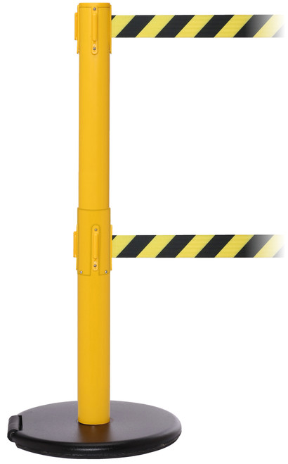 Roller Safety 300 Series Twin Stanchion - 16 Foot Yellow Crowd Control Post Belt