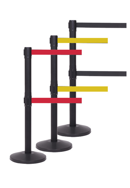 Queue Master 550 Twin Series Stanchion - 11 Foot Black Finish Crowd Control Retractable Belt